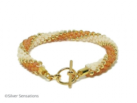 Cream, Orange & Gold Swirly Stripe Kumihimo Seed Bead Bracelet